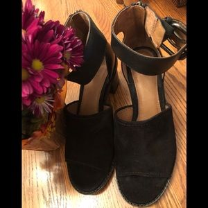 Frye Black Suede Sandal with zipper and buckle